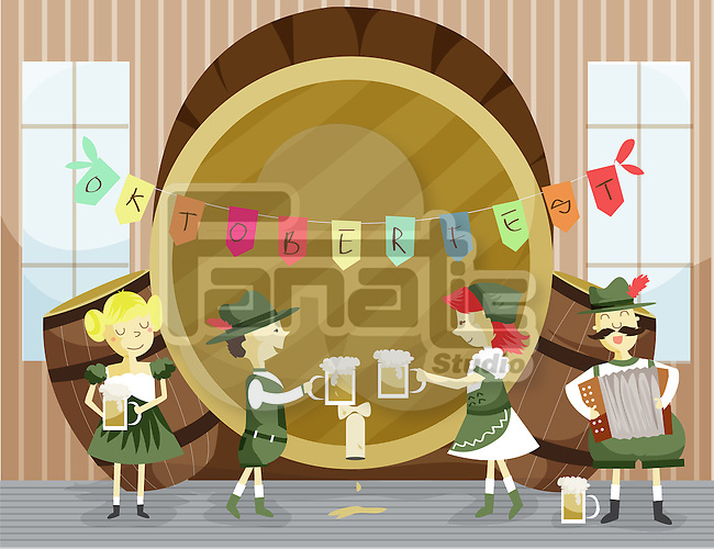 Illustration of people in traditional clothing celebrating Oktoberfest