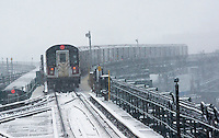 A Flushing Line train departs the Queensboro Plaza station in New York during the city's first major winter storm of the season on Thursday, February 9, 2017. Meteorologists are forecasting between 8 and 14 inches of snow in the New York City region. The Metropolitan Transportation Authority has had no major delays and the trains continue to run.  (© Richard B. Levine)