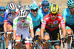 White Jersey Tadej Pogacar (SLO) UAE Team Emirates and race leader Red Jersey Primoz Roglic (SLO) Team Jumbo-Visma get caught behind in the 2nd group during Stage 17 of La Vuelta 2019  running 219.6km from Aranda de Duero to Guadalajara, Spain. 11th September 2019.<br /> Picture: Luis Angel Gomez/Photogomezsport | Cyclefile<br /> <br /> All photos usage must carry mandatory copyright credit (© Cyclefile | Luis Angel Gomez/Photogomezsport)