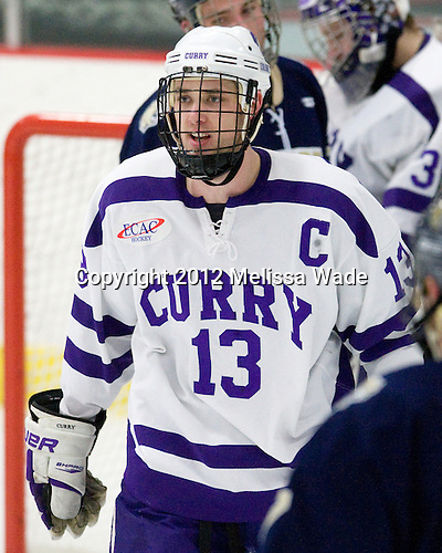 Payden Benning (Curry - 13) - The Curry College Colonels defeated the Johnson & Wales University Wildcats 5-4 on Curry's senior night on Saturday, February 18, 2012, at Max Ulin Rink in Milton, Massachusetts.