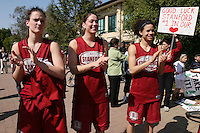 3 April 2008: The team departs for the Final Four and is sent off by fans and staff of the Athletic Department near Maples Pavilion in Stanford, CA. Pictured are Jillian Harmon, Michelle Harrison and Cissy Pierce.