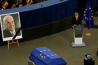 STRASBOURG, FRANCE - JULY 01: German Chancellor Angela Merkel speaks at a memorial ceremony for former German Chancellor Helmut Kohl at the European Parliament on July 1, 2017 in Strasbourg, France. Kohl was chancellor of Germany for 16 years and led the country from the Cold War through to reunification. He died on June 16 at the age of 87<br /> Foto Elyxandro Cegarra / Panoramic / Insidefoto <br /> ITALY ONLY