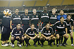 6 November 2004: DC United's starting lineup. Front row (l to r): Alecko Eskandarian, Brian Carroll, Mike Petke, Christian Gomez. Back row (l to r): Talon (mascot), Jaime Moreno, Earnie Stewart, Joshua Gros, Ezra Hendrickson, Bryan Namoff, Nick Rimando. DC United defeated the New England Revolution 4-3 on penalties after the game ended in a 3-3 tie at RFK Stadium in Washington, DC in the Major League Soccer Eastern Conference Championship Match. .