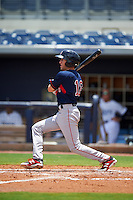 GCL Red Sox designated hitter Jagger Rusconi (12) at bat during the second game of a doubleheader against the GCL Rays on August 4, 2015 at Charlotte Sports Park in Port Charlotte, Florida.  GCL Red Sox defeated the GCL Rays 2-1.  (Mike Janes/Four Seam Images)