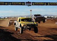 Apr 16, 2011; Surprise, AZ USA; LOORRS driver Rob Naughton (54) leads Bryce Menzies (7) during round 3 at Speedworld Off Road Park. Mandatory Credit: Mark J. Rebilas-