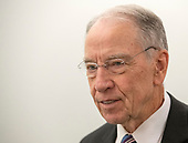 United States Senator Chuck Grassley (Republican of Iowa), Chairman, US Senate Committee on the Judiciary in the hallway outside the hearing room prior to hearing the testimony of Dr. Christine Blasey Ford on the nomination of Judge Brett Kavanaugh to be Associate Justice of the US Supreme Court to replace the retiring Justice Anthony Kennedy on Capitol Hill in Washington, DC on Thursday, September 27, 2018.<br /> Credit: Ron Sachs / CNP<br /> (RESTRICTION: NO New York or New Jersey Newspapers or newspapers within a 75 mile radius of New York City)