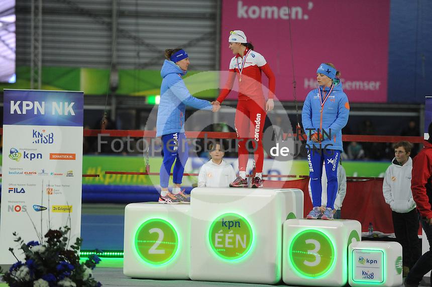 SCHAATSEN: GRONINGEN: Sportcentrum Kardinge, 17-01-2015, KPN NK Sprint, Podium 1e 1000m Dames, Ireen Wüst, Marrit Leenstra, Thijsje Oenema, ©foto Martin de Jong
