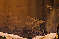 Petroglyphs, images scratched in the sand stone at Chaco Culture National Historic Park in northwestern New Mexico.