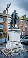 Pictured: A statue of Sir Hugh Owen in the Caste Square, Caernarfon. Saturday 02 November 2019<br /> Re: North Wales, UK.