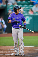 Javier Guevara (6) of the Grand Junction Rockies reacts to a call from the umpire during a game against the Ogden Raptors at Lindquist Field on September 7, 2018 in Ogden, Utah. The Rockies defeated the Raptors 8-5. (Stephen Smith/Four Seam Images)