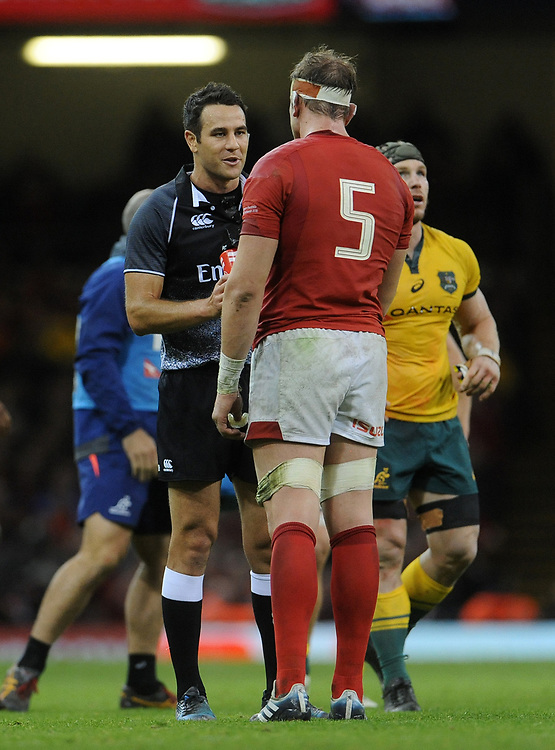 Referee Ben O'Keeffe has words with Wales' Alun Wyn Jones<br /> <br /> Photographer Ian Cook/CameraSport<br /> <br /> Under Armour Series Autumn Internationals - Wales v Australia - Saturday 10th November 2018 - Principality Stadium - Cardiff<br /> <br /> World Copyright © 2018 CameraSport. All rights reserved. 43 Linden Ave. Countesthorpe. Leicester. England. LE8 5PG - Tel: +44 (0) 116 277 4147 - admin@camerasport.com - www.camerasport.com