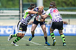 Samurai International (in white) defeats Natixis HKFC (in white and black stripes) 29 to 0 during Day 1 (Pool D) of GFI HKFC Rugby Tens 2016 on 06 April 2016 at Hong Kong Football Club in Hong Kong, China. Photo by Juan Manuel Serrano / Power Sport Images