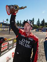 Feb 11, 2019; Pomona, CA, USA; NHRA top alcohol funny car driver Brian Hough celebrates after winning the Winternationals at Auto Club Raceway at Pomona. Mandatory Credit: Mark J. Rebilas-USA TODAY Sports