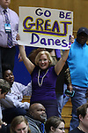 20 March 2015: An Albany fan. The Duke University Blue Devils hosted the University at Albany Great Danes at Cameron Indoor Stadium in Durham, North Carolina in a 2014-15 NCAA Division I Women's Basketball Tournament first round game.
