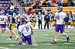 University at Albany Men's Lacrosse defeats Drexel 18-5 on Feb. 24 at Casey Stadium.  Chris Ryan (#30) celebrates a goal just scored by Justin Reh (#11). (Photo by Bruce Dudek / Cal Sport Media/Eclipse Sportswire)