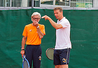 Austria, Kitzbuhel, Juli 14, 2015, Tennis, Davis Cup, Training Dutch team, Captain Jan Siemerink (R) with coach Martin Bohm<br /> Photo: Tennisimages/Henk Koster