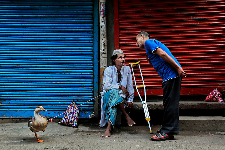 A Bangladeshi man, selling a duck, speaks with a customer on a road early morning in Dhaka, Bangladesh.