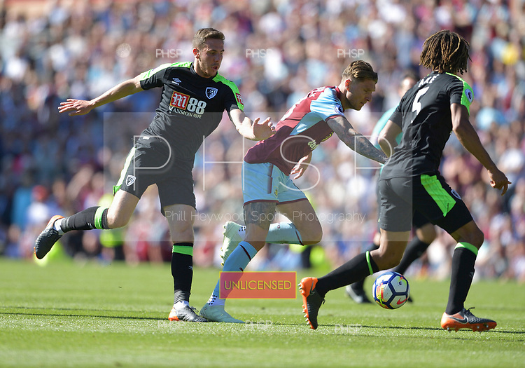 13/05/2018 Premier League Burnley v AFC Bournemouth<br /> <br /> Dan Gosling nudges Jeff Hendrick