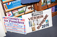 Campaign signs for long-shot, perpetual presidential candidates Stephen Comley and Vermin Supreme are seen in the Visitors Center at the NH State House in Concord, New Hampshire, on Wed., November 13, 2019. The Visitors center collects signed campaign signs and stickers from candidates for the multi-decade archive of campaign materials.
