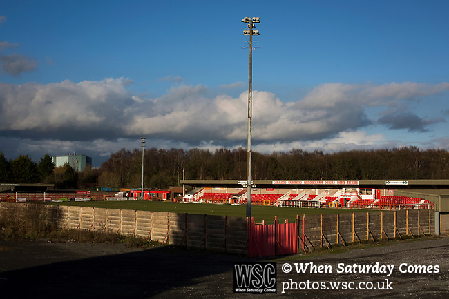 Witton Albion 1 Warrington Town 2, 26/12/2017. Wincham Park, Northern Premier League. Wincham Park, home of Witton Albion, pictured before their Northern Premier League premier division fixture with Warrington Town. Formed in 1887, the home team have played at their current ground since 1989 having relocated from the Central Ground in Northwich. With both team chasing play-off spots, the visitors emerged with a 2-1 victory, the winner being scored by Tony Gray in second half injury time, watched by a crowd of 503. Photo by Colin McPherson.