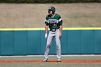 CARY, NC - FEBRUARY 23: Freddy Sabido #33 of Wagner College takes a lead off of second base during a game between Wagner and Penn State at Coleman Field at USA Baseball National Training Complex on February 23, 2020 in Cary, North Carolina.