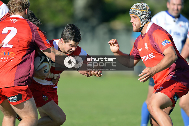 NELSON, NEW ZEALAND - April 16: Division 1 Club Rugby Waimea Old Boys v Stoke at Jubilee Park on April 16, 2016 in Richmond, New Zealand. (Photo by: Barry Whitnall/Shuttersport Limited)