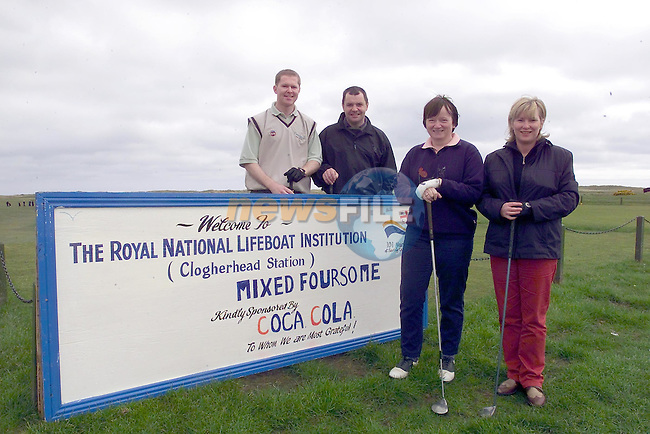 Gerry Kierans, declan McKeown, Maura Madden and Ann Marie Daly from Drogheda Concentrates taking part int he RNLI mixed Fours at Co Louth Golf Club in Baltray..Picture Supplies on behalf of Drogheda Concentrates...Picture Fran Caffrey Newsfile..This Picture is sent to you by:..Newsfile Ltd.The View, Millmount Abbey, Drogheda, Co Louth, Ireland..Tel: +353419871240.Fax: +353419871260.GSM: +353862500958.ISDN: +353419871010.email: pictures@newsfile.ie.www.newsfile.ie