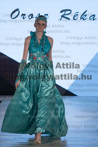 Model presents creation by designer Reka Orosz of Hungary during the Budapest Fashion Week held in Budapest, Hungary on April 22, 2018. ATTILA VOLGYI