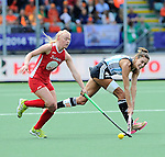 The Hague, Netherlands, June 14: Luciana Aymar #8 of Argentina passes the ball during the field hockey bronze medal match (Women) between USA and Argentina on June 14, 2014 during the World Cup 2014 at Kyocera Stadium in The Hague, Netherlands. Final score 2-1 (2-1)  (Photo by Dirk Markgraf / www.265-images.com) *** Local caption ***