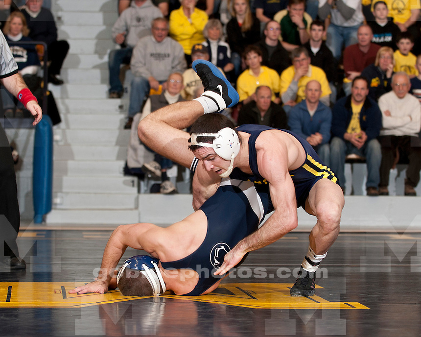 The University of Men's wrestling teams falls to No. 3 Penn State, 28-13, at Cliff Keen Arena in Ann Arbor, MI, on February 6, 2011.