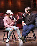 Jordan Fisher and Rory O'Malley from 'Hamilton' greet High School students from The Rockefeller Foundation, and The Gilder Lehrman Institute of American History before a 'Hamilton' matinee performance at the Richard Rodgers Theatre on 11/30/2016 in New York City.