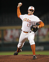 Texas Longhorns P Marcus Tackett during the 2008 season. Photo by Andrew Woolley / Four Seam Images.