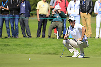 Nicolas Colsaerts (BEL) on the 8th green during Saturday's Round 3 of the 2018 Omega European Masters, held at the Golf Club Crans-Sur-Sierre, Crans Montana, Switzerland. 8th September 2018.<br /> Picture: Eoin Clarke | Golffile<br /> <br /> <br /> All photos usage must carry mandatory copyright credit (&copy; Golffile | Eoin Clarke)