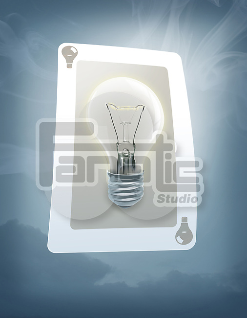 Illustrative image of lit bulb on trump card representing jackpot
