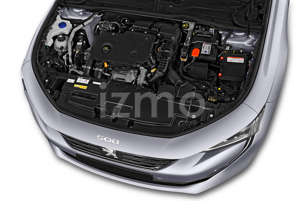 Car Stock 2018 Peugeot 508 Allure 5 Door Hatchback Engine  high angle detail view