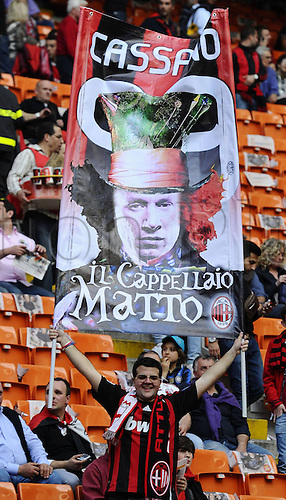 02 04 2011   Series A\. AC Milan versus Inter Milan, Italy.  Photo shows banners from the AC Milan supporters