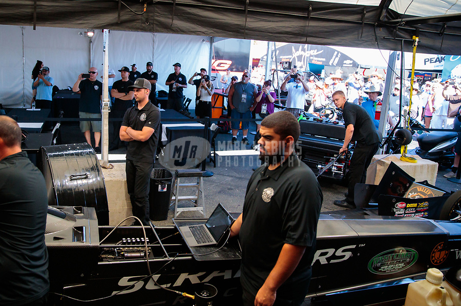 Jul 28, 2019; Sonoma, CA, USA; Crew members for NHRA top fuel driver Mike Salinas during the Sonoma Nationals at Sonoma Raceway. Mandatory Credit: Mark J. Rebilas-USA TODAY Sports
