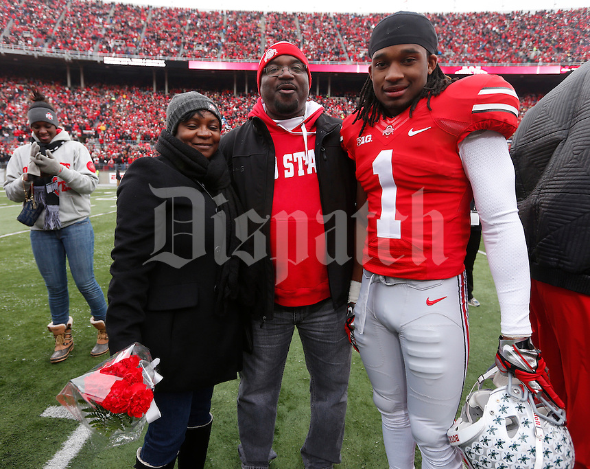 Ohio State Buckeyes running back Dontre Wilson (1) was one of nineteen seniors recognized before Saturday's NCAA Division I football game against Indiana at Ohio Stadium in Columbus on November 23, 2013. (Barbara J. Perenic/The Columbus Dispatch)