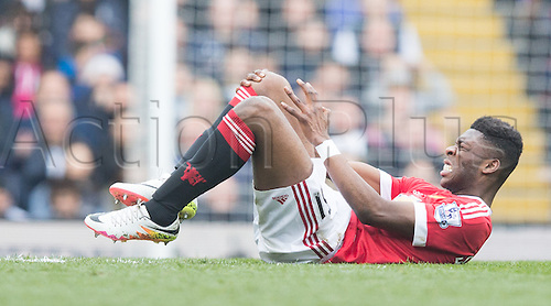 10.04.2016. White Hart Lane, London, England. Barclays Premier League. Tottenham Hotspur versus Manchester United. Manchester United midfielder Timothy Fosu-Mensah (51) is injured first half of the game