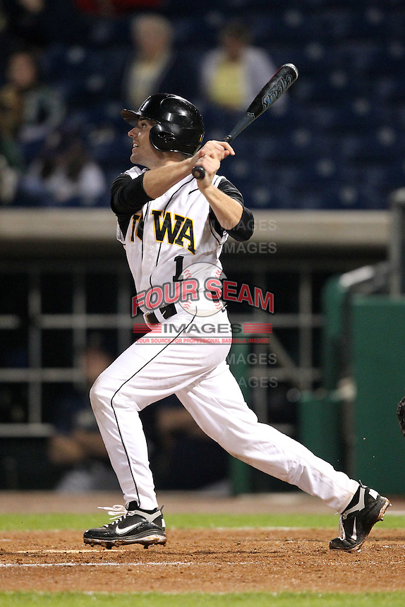 Shortstop Kasey Carling #1 of the Iowa Hawkeyes during the Big East-Big Ten Challenge vs. the Pittsburgh Panthers at Bright House Field in Clearwater, Florida;  February 19, 2011.  Photo By Mike Janes/Four Seam Images