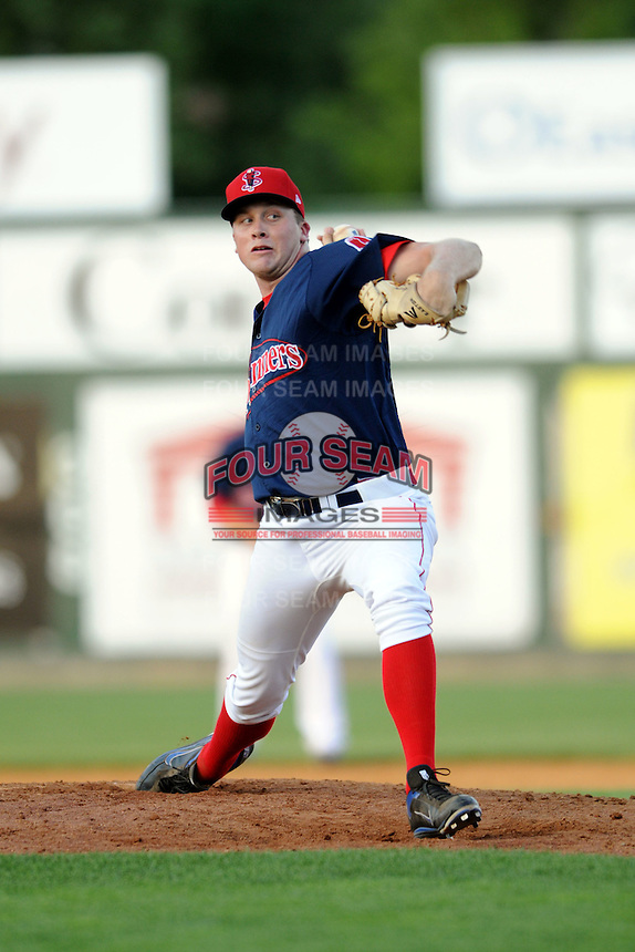 Lowell Spinners pitcher Greg Larson #23 during a game versus the Tri_City Valley Cats at LeLacheur Park In Lowell, Massachusetts on July 1, 2012.   (Ken Babbitt/Four Seam Images)
