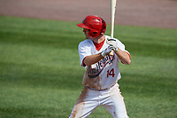 Auburn Doubledays center fielder Gage Canning (14) at bat during a game against the Batavia Muckdogs on June 17, 2018 at Falcon Park in Auburn, New York.  Auburn defeated Batavia 10-8.  (Mike Janes/Four Seam Images)
