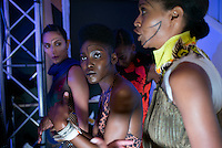 CAPE TOWN, SOUTH AFRICA JULY 30: Models walking for the designer Marianne Fassler waits backstage before a show on July 30 2015 at the V&A Watershed in Cape Town, South Africa. Marianne Fassler is one of South Africa's most established designers and she showed at the yearly Mercedes Benz Cape Town Fashion Week where some of South Africa's finest designers showed their Spring/Summer 2016 collections, during the 3-day event. (Photo by Per-Anders Pettersson)
