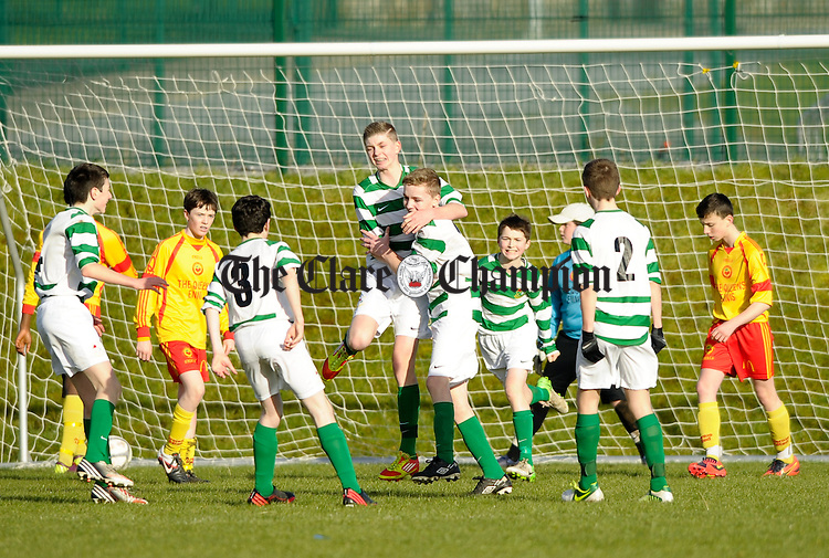 Knocklyon FC players celebrate their goal against Avenue United during their SFAI game at Lisdoonvarna. Photograph by John Kelly.