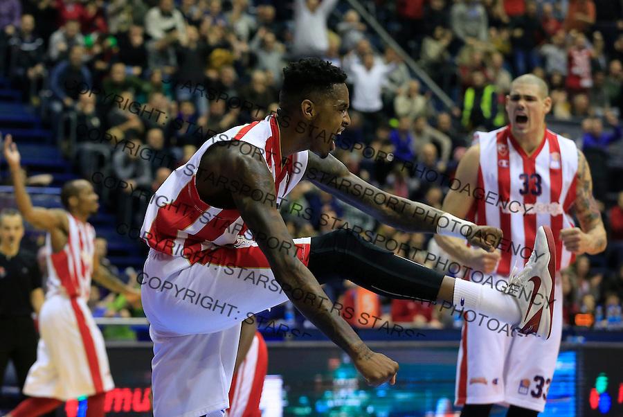 Kosarka ABA League season 2015-2016<br /> Crvena Zvezda v Cedevita<br /> Quincy Miller (L) and Maik Zirbes (R) celebrate<br /> Beograd, 04.01.2015.<br /> foto: Srdjan Stevanovic/Starsportphoto&copy;