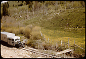 RGS Goose #5 running southbound alongside Leopard Creek which is quite small here (maybe closer to Sams).<br /> RGS  Leopard Creek, CO  Taken by Maxwell, John W. - 5/31/1946
