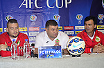 Team formers from FC Istiklol and Pahang FC attends to the press conference prior to the FC Istiklol vs Ahal FC during the 2015 AFC Cup 2015 Quarter Final 1st leg match on August 25, 2015 at the Ashgabat Stadium in Ashgabat, Takijistan. Photo by Faridun Saliev / World Sport Group