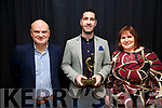 Bryan Sheehan scooped the Player of the Championship at the inaugural Kerrys Eye & South Kerry Boards Senior Championship Awards Night in the Kerry Coast Hotel on Saturday night pictured here l-r; Barry Clifford(PRO SKB), Bryan Sheehan & Suzanne Ní Laoighre(Chair SKB).