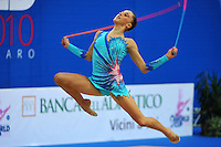 Andreea Stefanescu of Italy performs with rope at 2010 Pesaro World Cup on August 27, 2010 at Pesaro, Italy.  Photo by Tom Theobald.