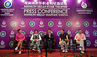 HAIKOU, CHINA - OCTOBER 28:  (L-R) LPGA Tour player Candie Kung of Taiwan, Hong Kong singer Aaron Kwok, Dr. Ken Chu, Vice Chairman of Mission Hills Group, Hollywood actor Hugh Grant of Great Britain and Chinese film director He Ping attend a press conference during the Mission Hills Star Trophy on October 28, 2010 in Haikou, China. The Mission Hills Star Trophy is Asia's leading leisure liflestyle event and features Hollywood celebrities and international golf stars.  Photo by Victor Fraile / studioEAST